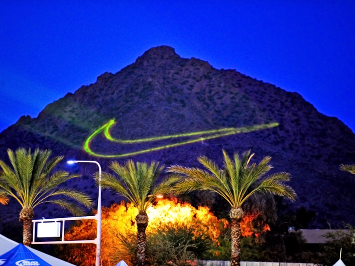 Lightwave International and Nike use over 200 Watts of full-color direct-diode and OPS lasers to brand Camelback Mountain for thousands of fans at the Fiesta Bowl in Arizona.