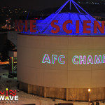 The NFL AFC Championships created fan excitement with Lightwave International projecting building and mountain sized graphic laser projections